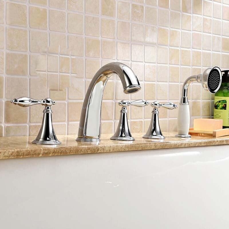 Polished Chrome Deck Mount Bathroom Bathtub Faucet Set Three Handles Widespread Tub Mixer Tap<br><br>Aliexpress