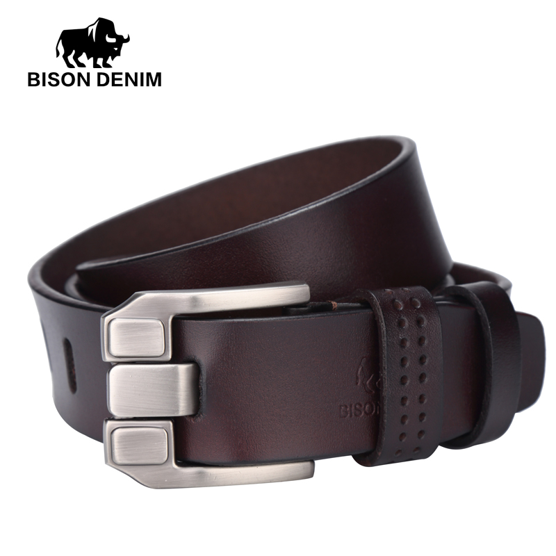 BISON DENIM men luxury belts top Cowboy Genuine Le...