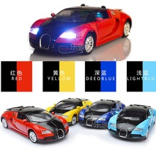 New Collectible Model Diecast Cars Bugatti Veyron Model Car 1:36 Alloy Diecast Mini Pull Back Musical Sounds Toys Kids Gift(China)