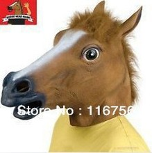Free Shipping-Creepy Horse Mask Head Halloween Costume Theater Prop Novelty Latex Rubber