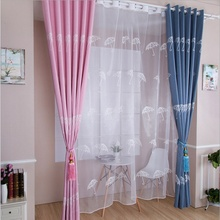Cartoon Blue Green Pink Blackout Curtains White Tulles Umbrella Bird Nest Tree For Living Room Bedroom Kitchen Shade Su187 *20