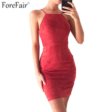 ForeFair 2017 Trend Back Criss Cross Bodycon Party Dresses Summer Black Red Khaki Plus Size Women Sleeveless Sexy Dress