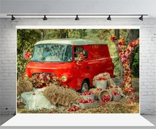 Laeacco Autumn Outdoor Harvest Apples Haystack Red Car Leaves Photography Backgrounds Vinyl Customs Backdrops For Photo Studio