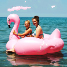 Flamingo Swan Inflatable mounts mounted on water Floating bed Floating row Adult Unicorn Swimming ring Water bed(China)