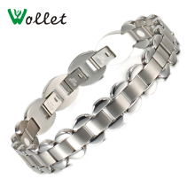 Flower Design Health Care 316L Stainless Steel Bracelet Women Ion Tourmaline Infrared Germanium Bracelets Bangles(China)