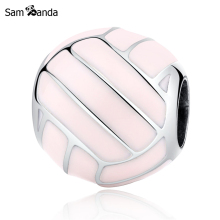 Sam Panda Authentic 925 Sterling Silver Bead Charm Pink Volleyball Sports Beads Fit Women Bracelets & Bangles Jewelry yw20354