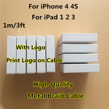 10pcs/lot 1:1 Original Quality 30Pin Metal Braided USB Date Sync Charger Cable Charging Line For iPad 2 3 for iPhone 4 4S 3G 3GS