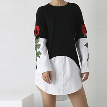 Women 's Fake Two Pieces Long Shirt Plus Roses Embroidery Long Sleeves Shirt Blouse Fashion Tops(China)