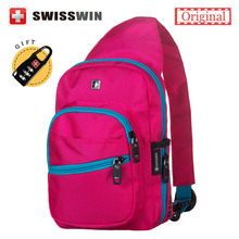 Swisswin Brand Shoulder Bags Female Fashion Sling Bag for Women and Men Small Travel Chest Bag Red Black Zipper Bag(China)
