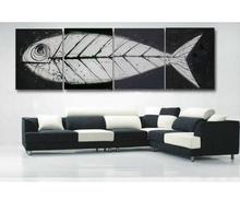 hand made  oil paintings 4 piece Fish bones Fossil canvas art white black modern home decorative art