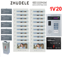 "ZHUDELE Building Home security intercom system 20 Units Apartment Video Door Phone Bell Intercom System 7"" TFT monitor IN STOCK(China)"