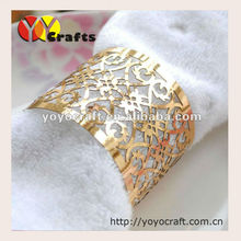 Personalized laser cut paper gold napkin rings wholesale wedding napkin rings table decorations, Party home decoration(China)