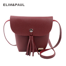 ELIM&PAUL Fashion Lovely Designer Tassel Crossbody Bag for Women PU Leather Phone Wallet Clutch Bag Small Ladies Messenger Bag