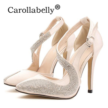 2016 Sexy High Heels Rhinestone Women Pumps Silk Surface Women Sandals Thin High heels Wedding Party Shoes(China)