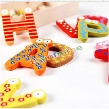 26 Wooden Alphabet Fridge Magnet Educational Study Toy For Children Kids Baby(China)