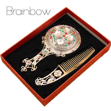 Brand New Women Chic Retro Vintage Pocket Mirror Compact Makeup Mirrors Comb Set Hand Make Up Bronze Hollowed-Out Makeup Vanity