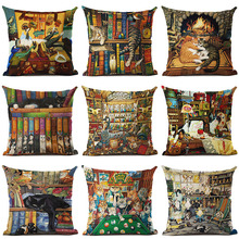 Cute Cat Pattern Printed Cotton Linen Pillowcase Decorative Cushion Pillows Use For Home Sofa Car Office Almofadas Cojines(China)