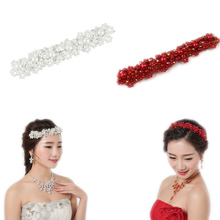 2017 New Fashion Crystal Faux Pearl Flower Party Bridal Headband Hair Band Tiara  @M23