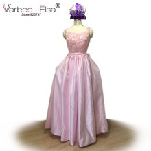 VARBOO_ELSA Cute Sweet Pink Satin Eveing Dress 2018 Pearl Beading Backless Party Dresses Real Photo vestido de festa Custom Made(China)