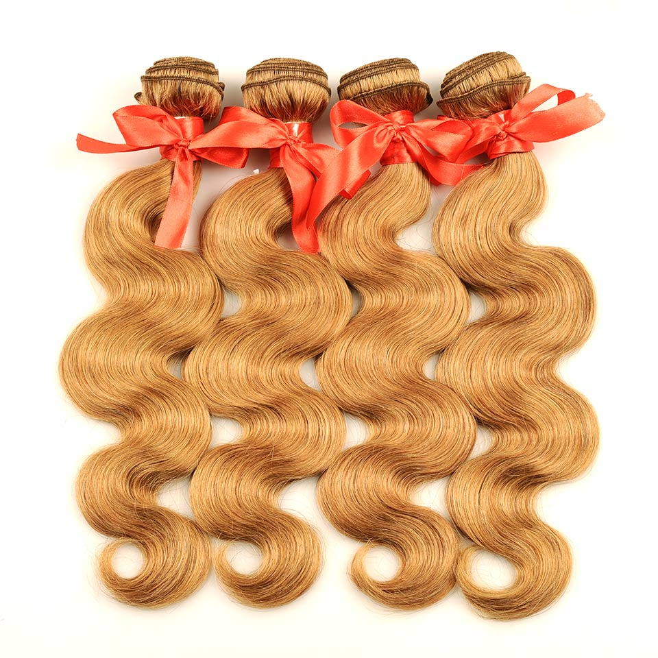 Pinshair 4 PcsPack Body Wave Hair Honey Blonde Brazilian Hair Weave Bundle Deals #27 100% Human Hair Extensions Non Remy Hair  (59)