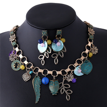 2017 Baroque Style Angle Wing Owl Rudder Flower Bronze Pendant Maxi Collar Necklace For Women Fashion Jewellery mujer bijoux