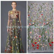 good quality mixed colors on netting embroidered evening/bridal/stage dress lace fabrics embroidery lace fabric by the yard