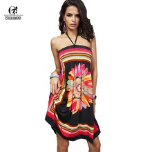 Casual Women Dresses Strapless Summer Style Wrapped Chest Silk Dress printing Sexy Dress Extra Large Hot Sale Large Size(China)