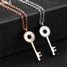 Fashion Bulgaria Jewelry Sliver/Rose Gold Color Key Necklace Pendant Short Chain Stainless Steel Necklace For Women Bijoux 2017