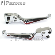 PAZOMA HOT Chrome Motorcycle Skull Levers Brake Adjustable Clutch For Harley Softail Sportster Hand Control Free Shipping
