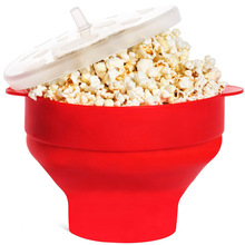 1Pc Microwaveable Popcorn Maker Pop Corn Bowl With Lid Microwave Safe Bakingwares DIY Foldable Silicone Popcorn Bucket Portable