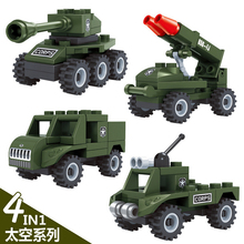 Modern Mini Army Vehicle Military war building block Military jeep tank Rocket gun Armored car bricks toys for boys gifts(China)