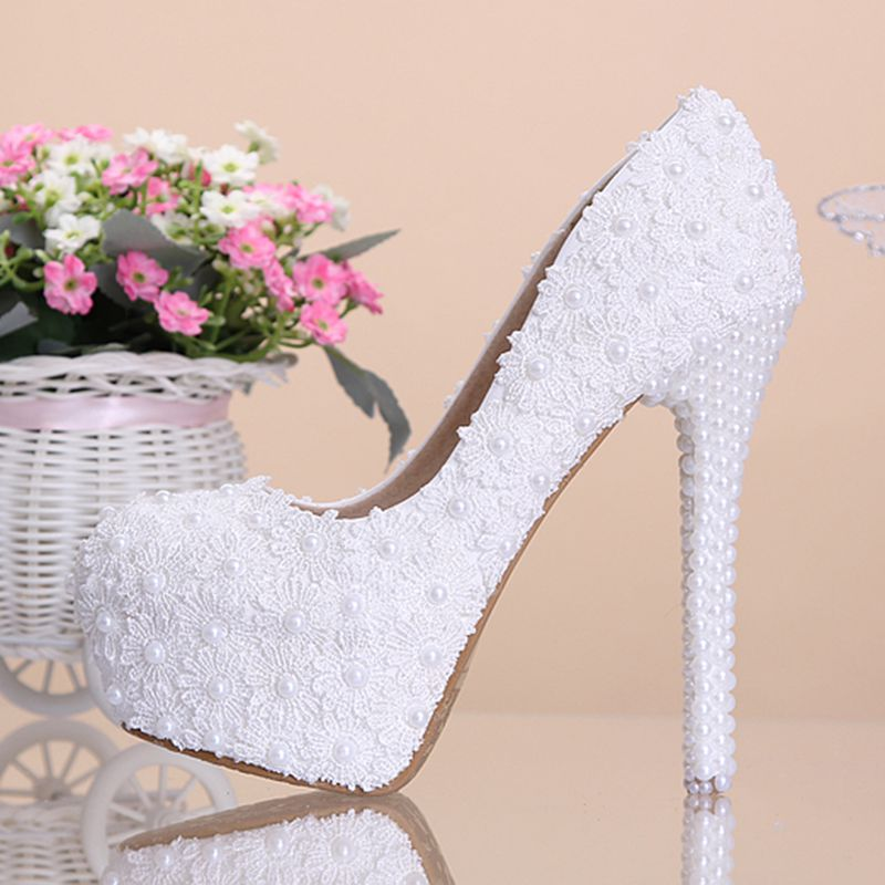 2017  White Lace Pearls Women Wedding Shoes High Heels Platform Women Party Shoes Round Toes Spring Autumn Pumps<br><br>Aliexpress