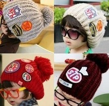Fahion Cute Winter Korean Tide New Badge Pattern Label Knitting Hat Labeling Wool Parenting Baby Children Cap