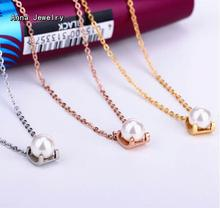 Buy Fashionable Round Single Pearl Pendant Necklace Beautiful Clavicle Chain White Pearl Women Favorite Pearl Choker Necklace for $7.81 in AliExpress store