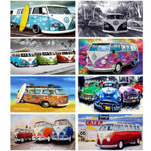 "NEW Full Round Diamond 5D DIY Diamond Painting ""Seaside big car"" Embroidery Cross Stitch Rhinestone Mosaic Painting Decor Gift"