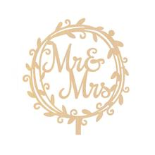 2017 New Mr and Mrs Wedding Cake Topper Wooden Shining Bride Groom Wedding Decoration(Garland)(China)