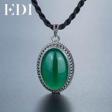 EDI 2017 New Design 925 Sterling Silver Natural Gemstone Pendant Green Chalcedony S925 Brand Fine Jewelry Gifts(China)