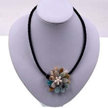Classic White freshwater pearl mix amazonite stone beaded flower necklace for womens(China)