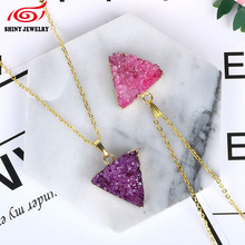 Valentine's Day Gift Raw Stone Pendant Necklace Women Female Gold Filed Traingle Natural Druzy Drusy Amethysts Necklace Jewelry(China)