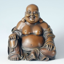 ATLIE BRONZES Big Size Pot-bellied laughing Buddha Copper brass sculpture Bronze Smiling Buddha maitreya lucky home decoration(China)