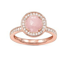 TS Jewellery 925 Sterling Silver Rose Plated Big Pink Zirconia Rings Thomas Style Glam and Soul Good Jewelry Love Gift for Women