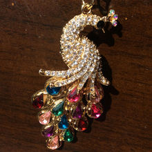 3D Crystal Rhinestone Peacock Keychain Novelty Souvenir Gifts3pcs Key Chain Key Ring Hangbag Charms Pendant Chaveiros Carro(China)