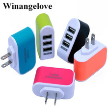 Winangelove 100pcs candy color LED Light Triple 3USB ports 3.1A USB AC US wall charger home plug for samsung for iphone 7 6 5