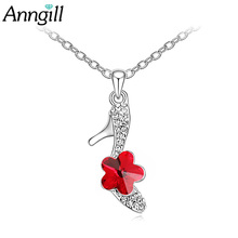 ANNGILL Elegant Crystals from Swarovski High Heels Shoes Pendant Necklace For Women Sexy Fashion Jewelry Gift for Party Weeding(China)