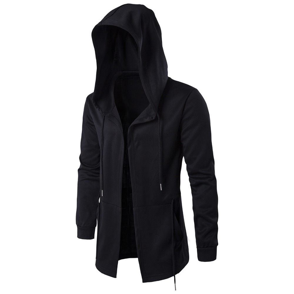 Spring men hooded jacket fashion Dark Department Long cloak Windbreaker hoodies autumn mens black Sweatshirts Cardigan trench