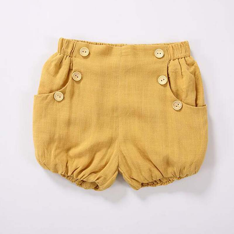 BBK 2017 summer Cotton bread pants buttons baby Boys and girls pumpkin beach pants yello&amp;blue Loose and comfortable kids Shorts<br><br>Aliexpress