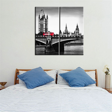 Unframed Wall Art Picture Home Decoration Black and White Painting Modern Oil Painting City Modular Painting on The Wall 2 Panel