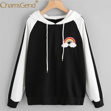 Chamsgend Hoodies Women Girls Casual Rainbow Pattern Black-White Patchwork Blouse Shirt Female Hoodie Sweatshirt 71226