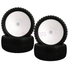 81W-804 4PCS RC 1:8 Off-Road Car Buggy Rubber Tyre Tires & Wheel Rim White 17mm Have foam inserts Fit HSP