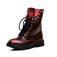 Fashion Spring Genuine Leather Skull Ankle Women Boots Brand quality Black Women shoes rivet female Martin boots(China)